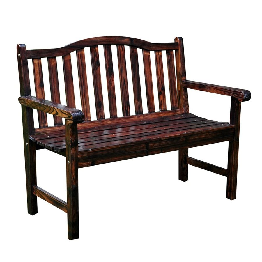 Shine Company 22-in W x 44.75-in L Burnt Brown Cedar Patio Bench
