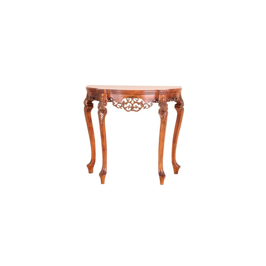 International Caravan Carved Wood Brown Half-Round Console and Sofa Table