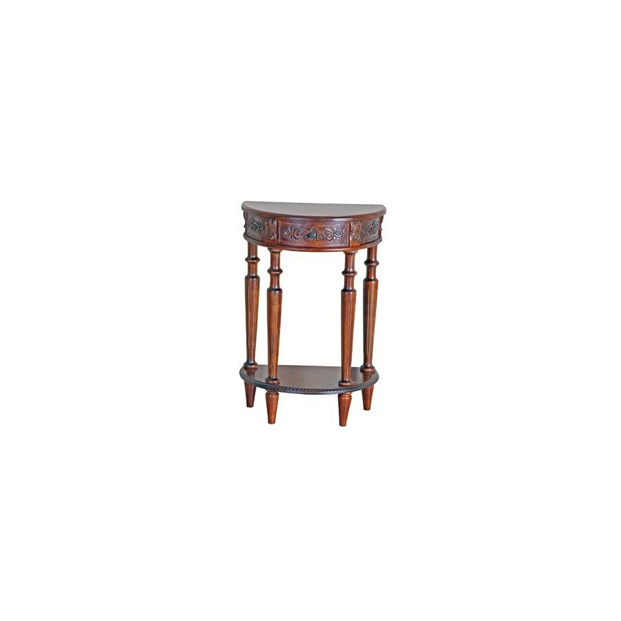 International Caravan Carved Wood Stain Half-Round Console and Sofa Table