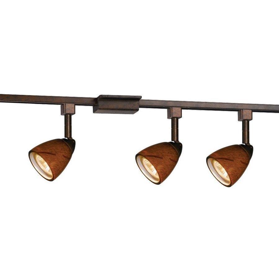 Cal Lighting 3-Light 48-in Rust Glass Pendant Linear Track Lighting Kit