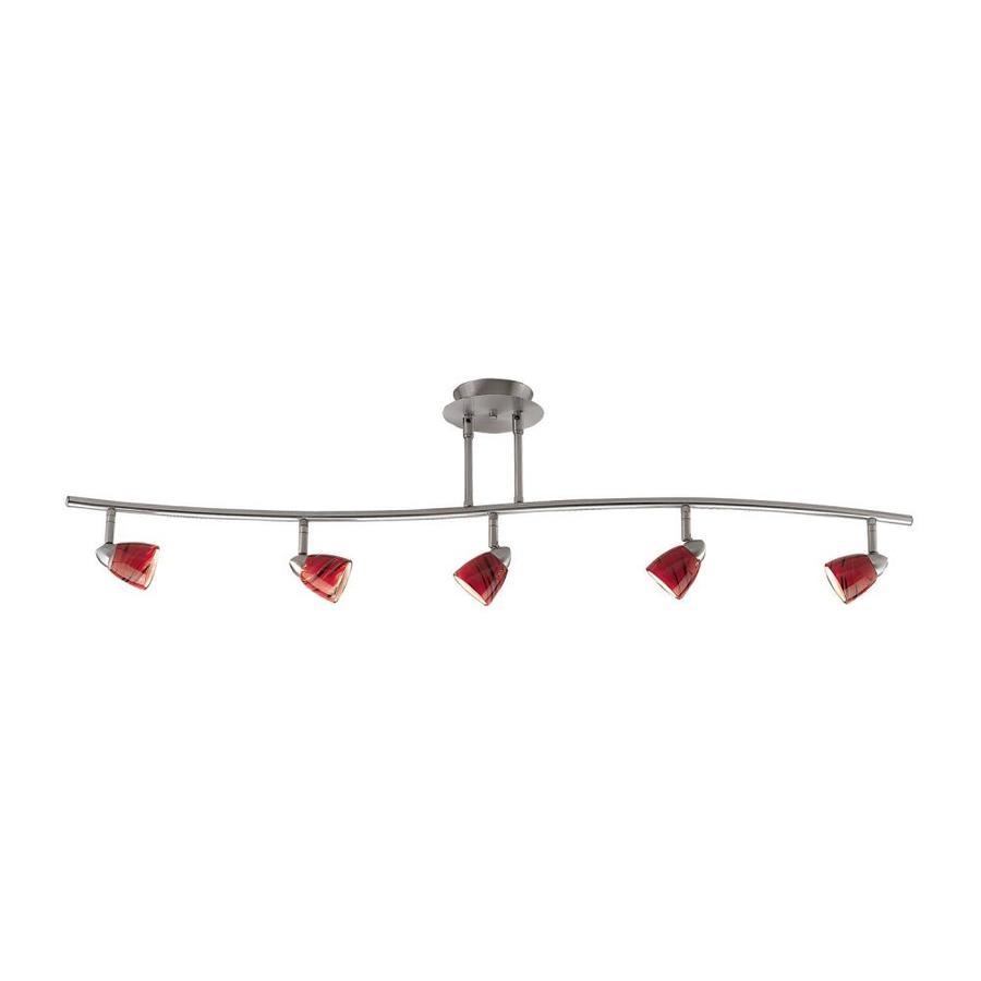 Cal Lighting Serpentine 5-Light 48-in Brushed Steel Glass Pendant Linear Track Lighting Kit