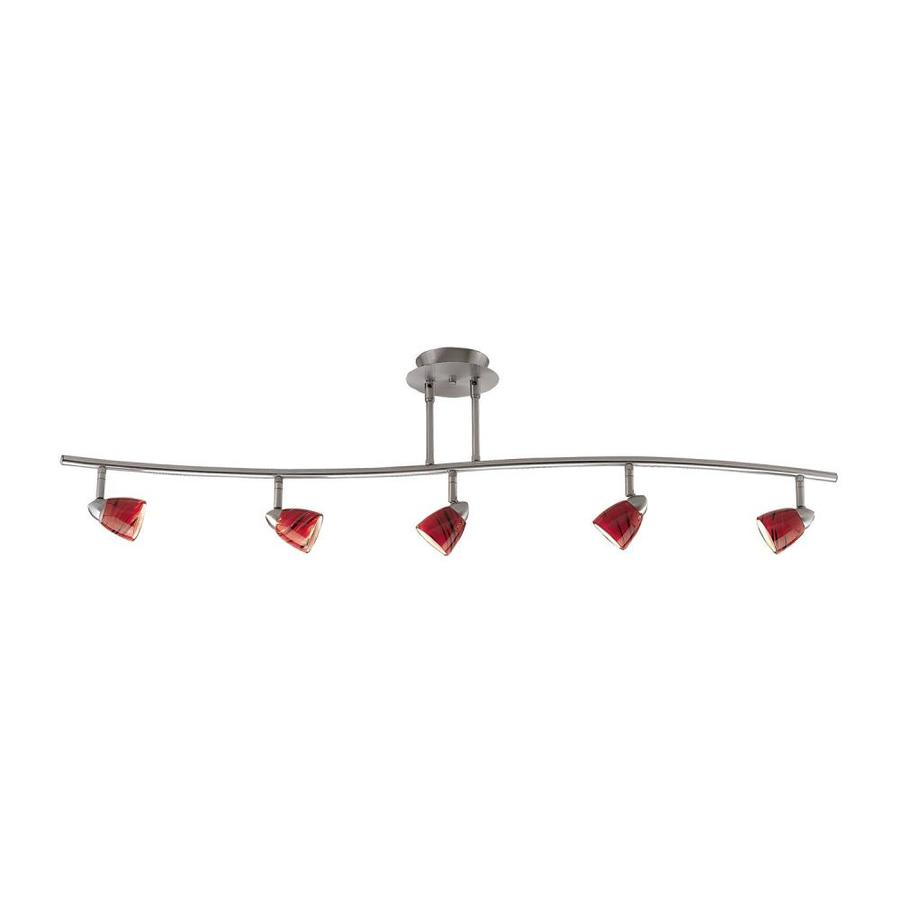 Cal Lighting Serpentine 5-Light 48-in Brushed Steel Glass Pendant Linear Track Lighting Kit