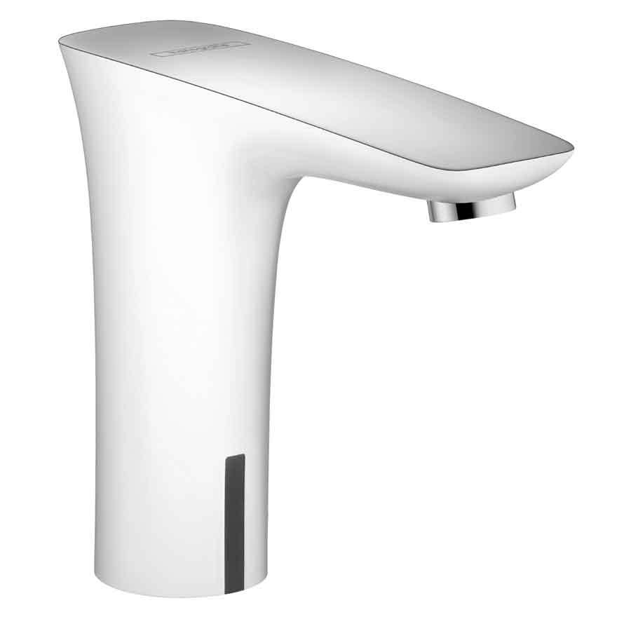 White Faucet Bathroom : Hansgrohe Puravida White/Chrome Touchless Single Hole Bathroom Faucet ...