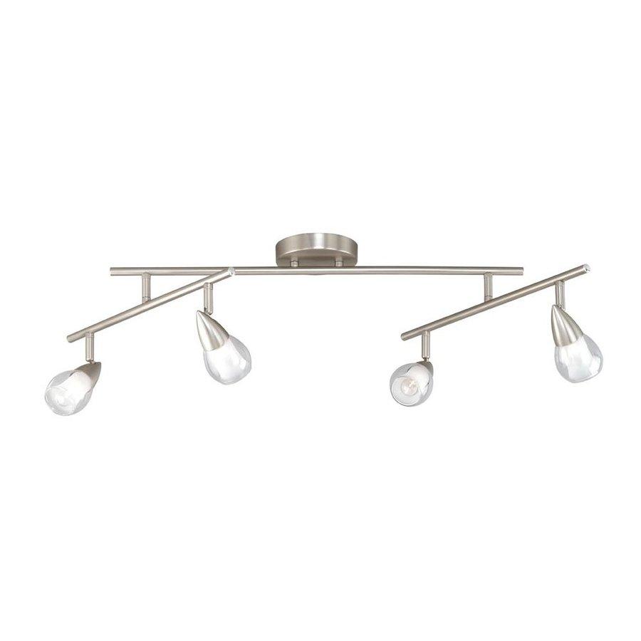 Cascadia Lighting Tivoli 4-Light 38.5-in Satin Nickel Flexible Track Light with Glass