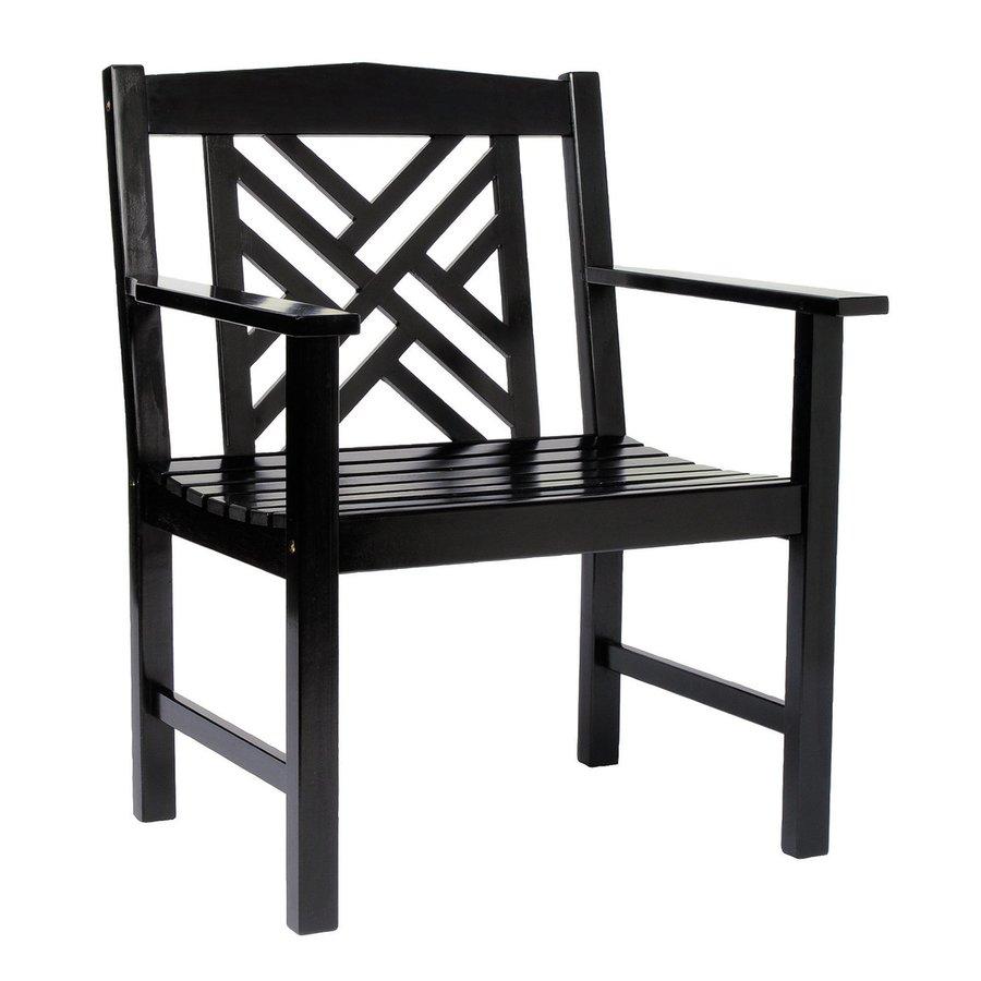 ACHLA Designs Fretwork Black Lacquer Eucalyptus Patio Dining Chair