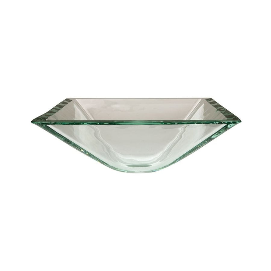 Elements of Design Fauceture Crystal Clear Glass Vessel Square Bathroom Sink