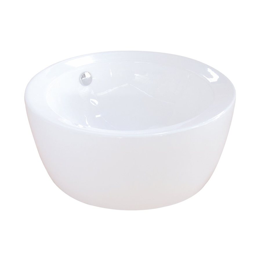 Elements of Design Dynasty White Vessel Round Bathroom Sink with Overflow