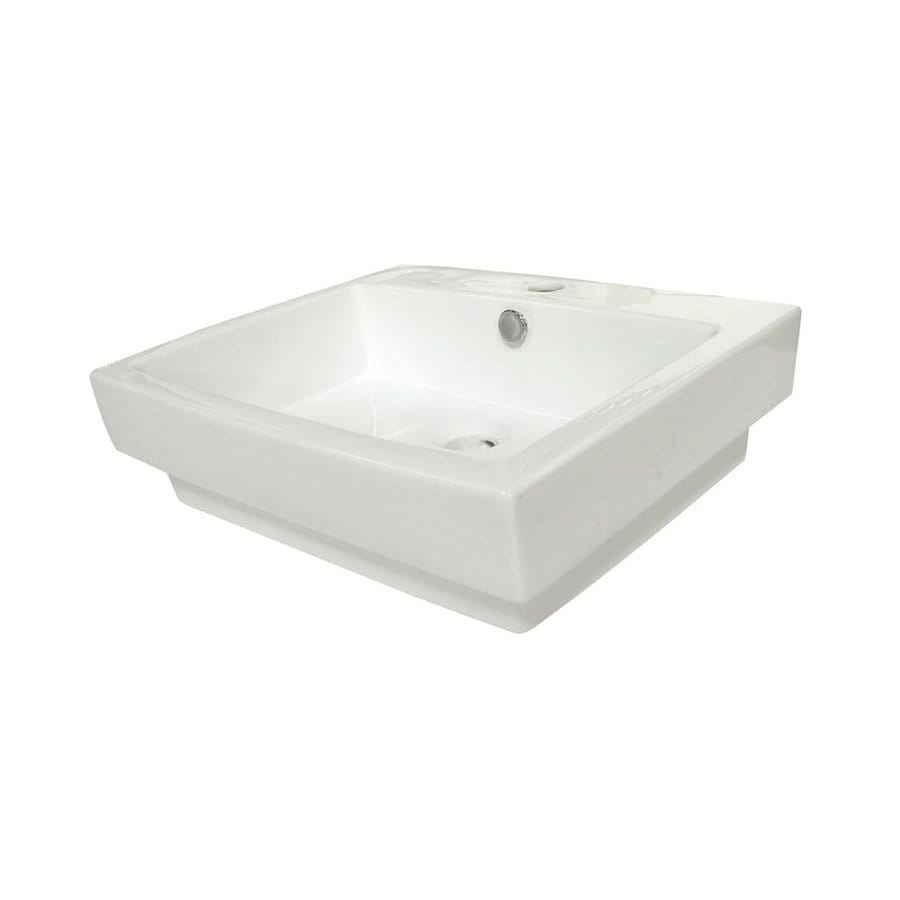 Elements of Design Plaza White Vessel Rectangular Bathroom Sink with Overflow