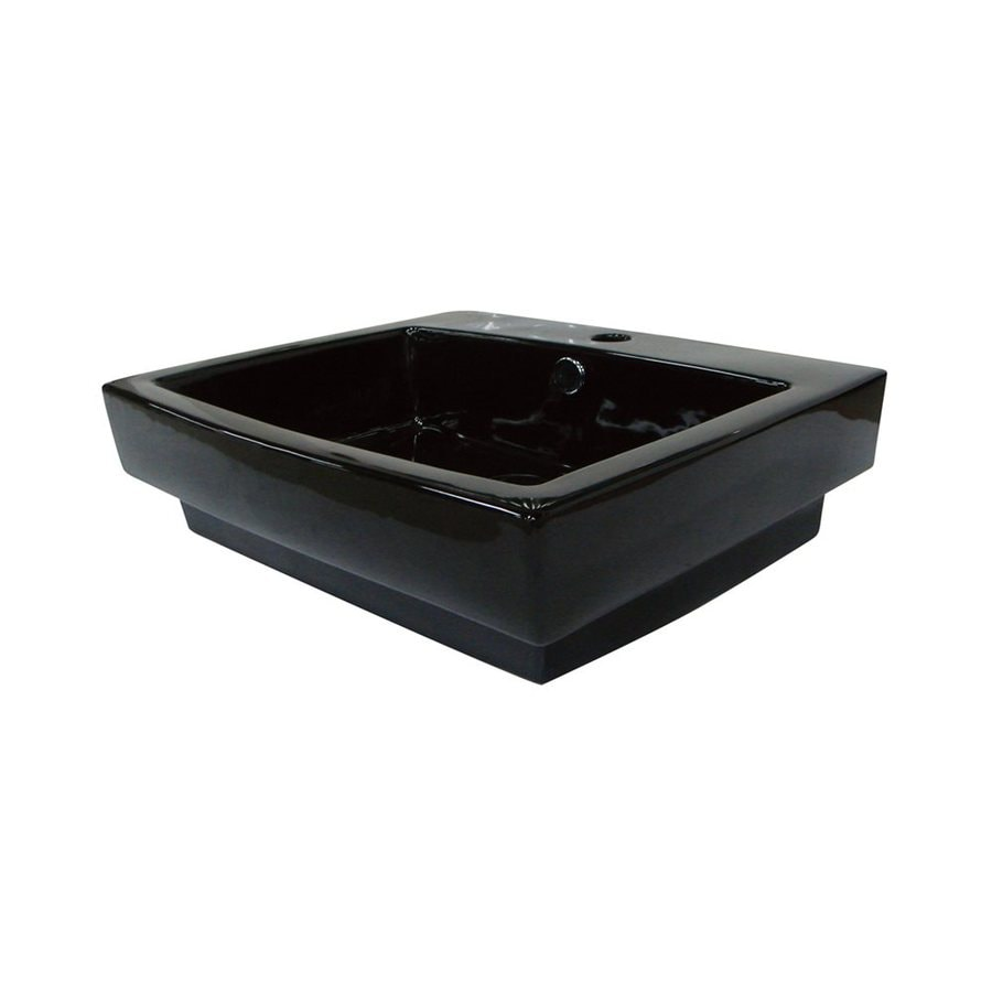 Rectangular Vessel Sink With Overflow : ... of Design Plaza Black Vessel Rectangular Bathroom Sink with Overflow