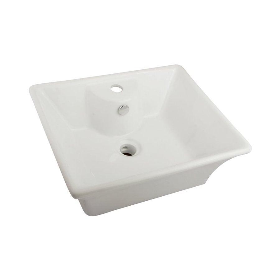 Elements of Design Forte White Vessel Rectangular Bathroom Sink with Overflow