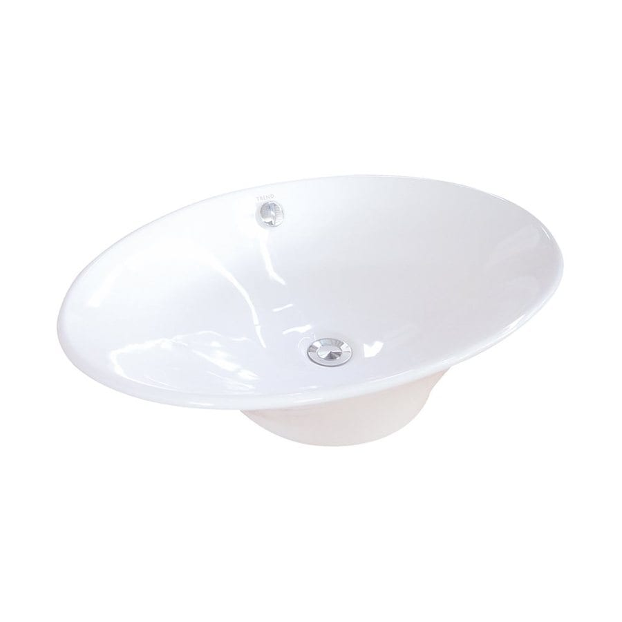 Elements of Design Blossom White Vessel Oval Bathroom Sink with Overflow