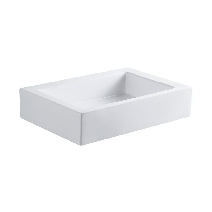 Shop elements of design pacifica white vessel rectangular for Rectangular bathroom layout