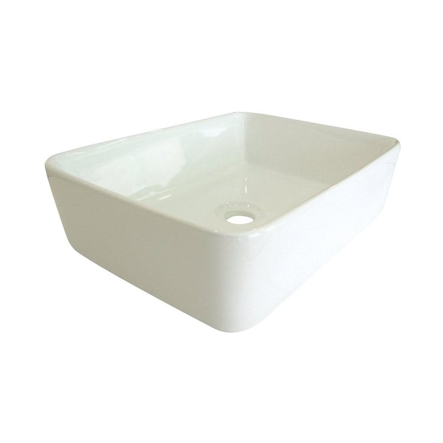 Shop Elements Of Design French White Vessel Square Bathroom Sink At
