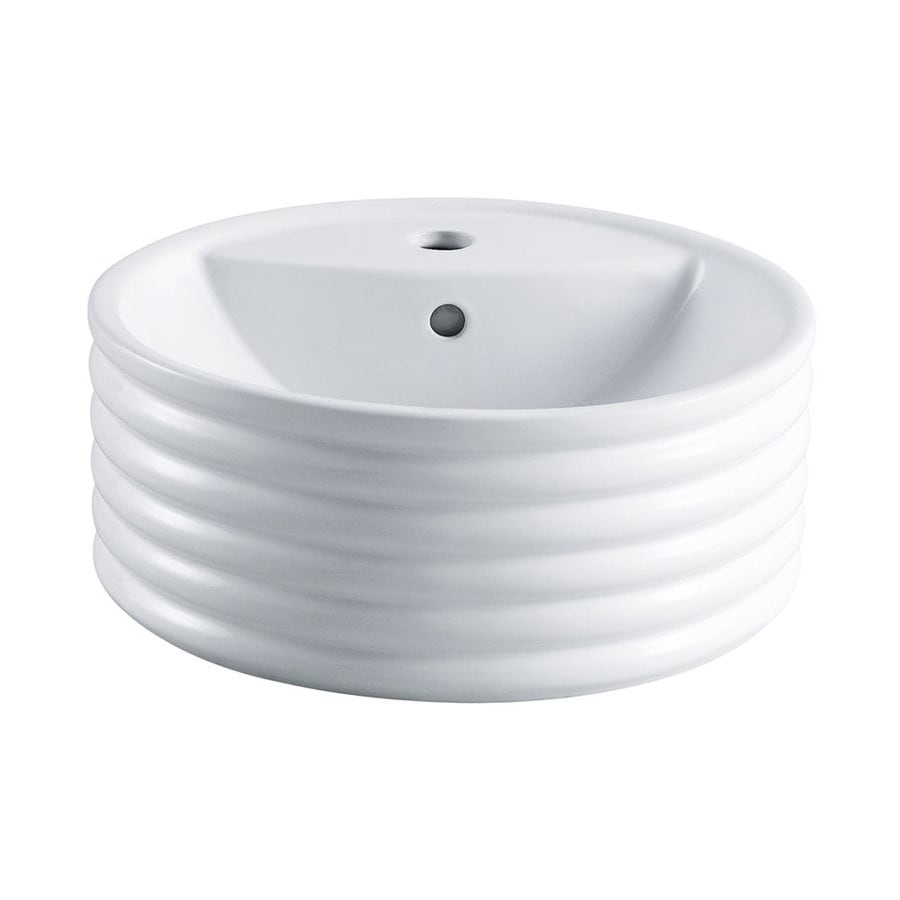 Elements of Design Tower White Vessel Round Bathroom Sink with Overflow