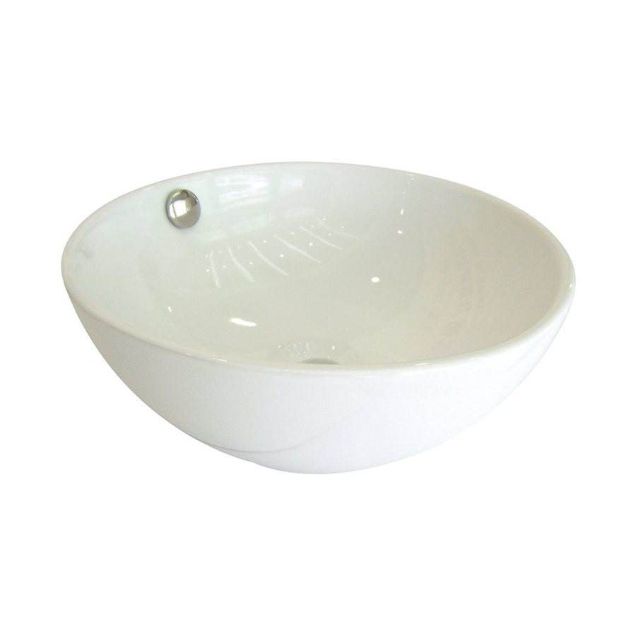 Shop Elements Of Design Le Country White Vessel Round Bathroom Sink With Overflow At