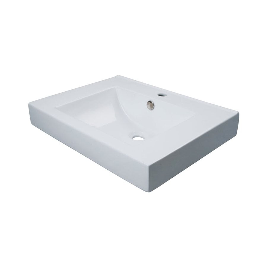 Elements of Design Mission White Vessel Rectangular Bathroom Sink with Overflow