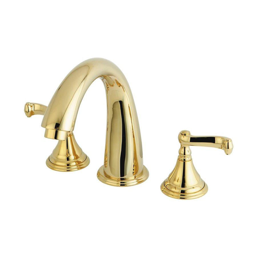 Elements of Design Atlanta Polished Brass 2-Handle Adjustable Deck Mount Bathtub Faucet