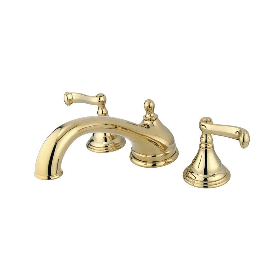 Elements of Design Atlanta Polished Brass 2-Handle Adjustable Deck Mount Bathtub Faucet