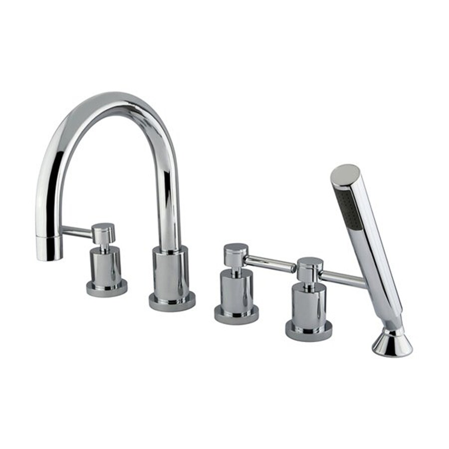 Elements of Design Polished Chrome 3-Handle-Handle Adjustable Deck Mount Bathtub Faucet