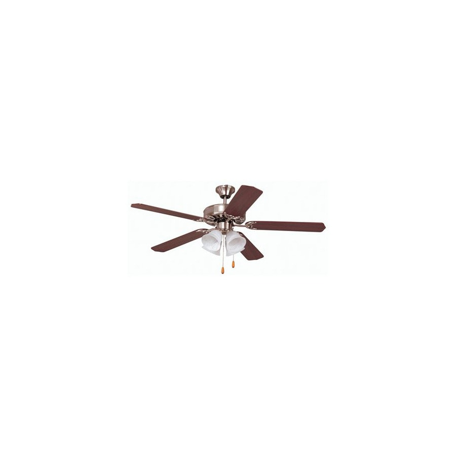 Yosemite Home Decor Builder 52-in Brushed Steel Downrod or Flush Mount Ceiling Fan with Light Kit