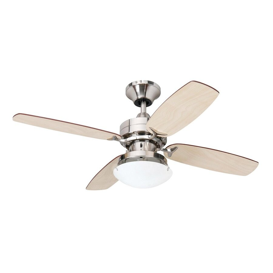 Yosemite Home Decor Ashley 36-in Brushed Steel Indoor Downrod Mount Ceiling Fan with Light Kit