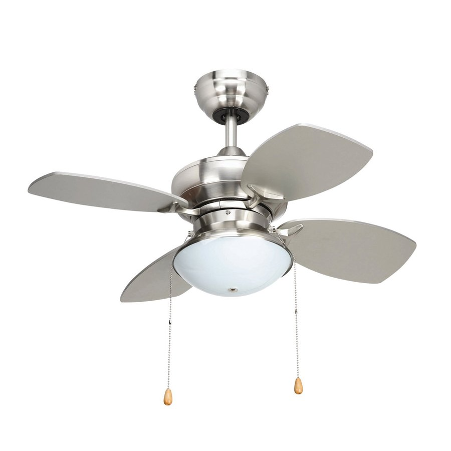 Yosemite Home Decor Hurricane 28-in Brushed Steel Indoor Downrod or Flush Mount Ceiling Fan with Light Kit