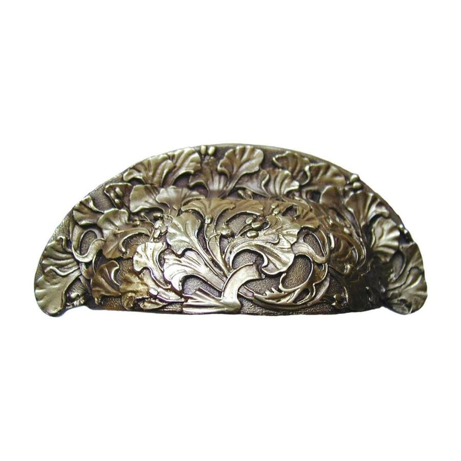 Notting Hill 3-in Center-to-Center Antique Brass Floral Cup Cabinet Pull