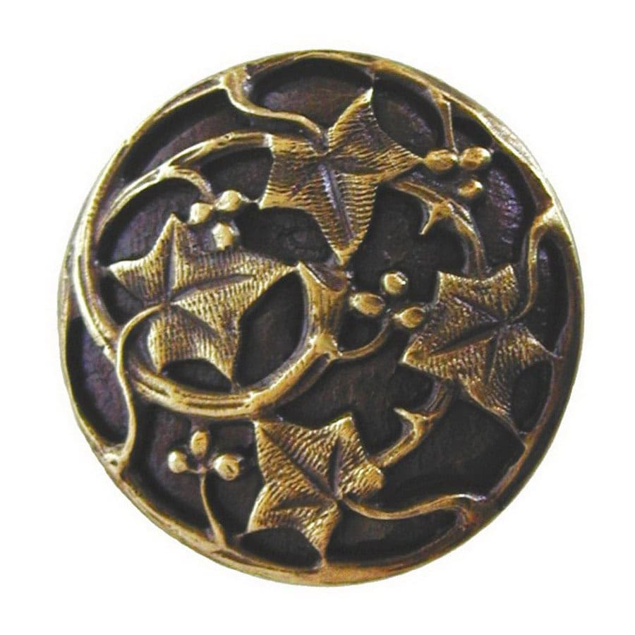 Notting Hill 1-1/8-in Brass Leaves Round Cabinet Knob