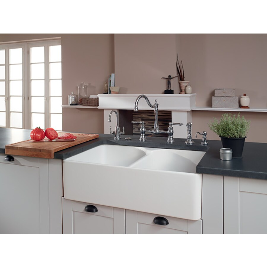 Franke Manor House 21.875-in x 35.625-in White Double-Basin Fireclay Apron Front/Farmhouse 1-Hole Residential Kitchen Sink