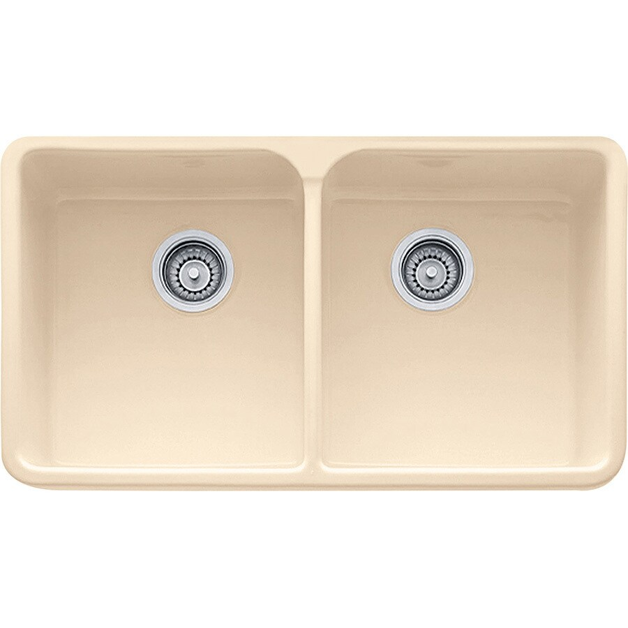 Franke Manor House 19.875-in x 31.25-in Biscuit Double-Basin Fireclay Apron Front/Farmhouse 1-Hole Residential Kitchen Sink