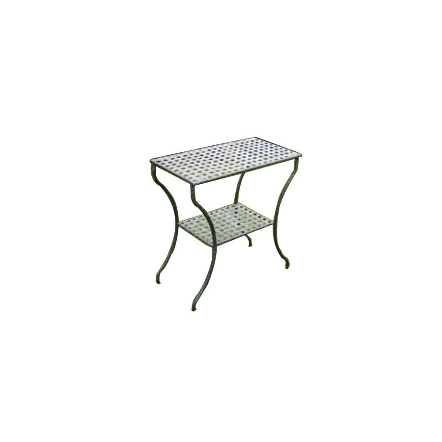 International Caravan 28.5-in x 15-in Black/Silver Rectangle Patio Side Table