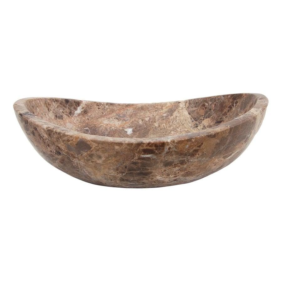Eden Bath Stone Dark Emperador Marble Vessel Oval Bathroom Sink