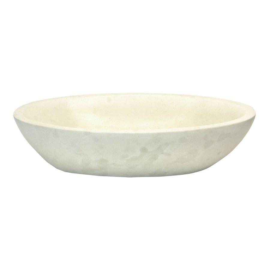 Shop Eden Bath White Stone Vessel Oval Bathroom Sink At
