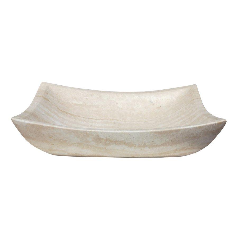 Shop eden bath white travertine stone vessel rectangular - Rectangular sinks bathroom vessel ...