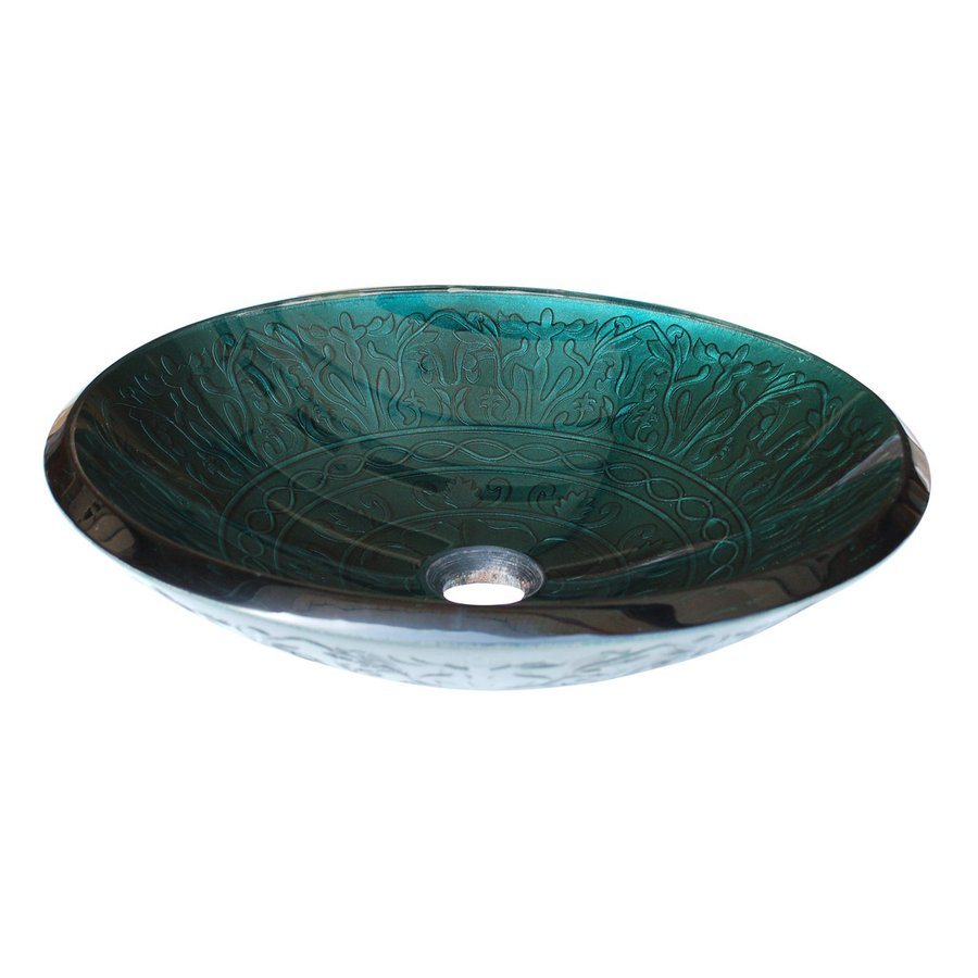 Shop eden bath teal glass vessel oval bathroom sink at for Bathroom ideas vessel sink