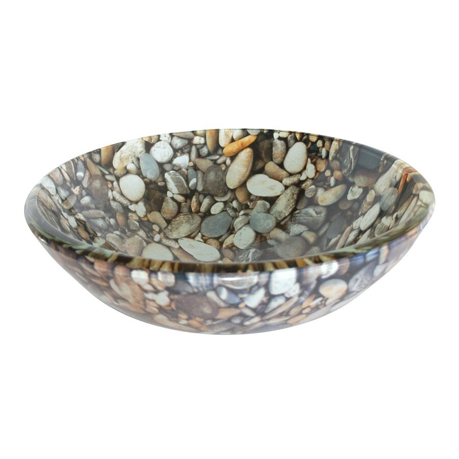 Eden Bath Natural Pebble Glass Vessel Round Bathroom Sink