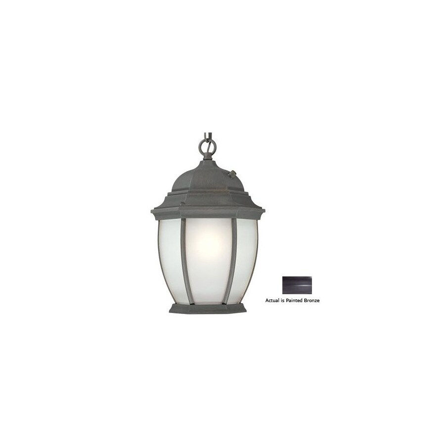 Thomas Lighting Convington 14-in Painted Bronze Solar Outdoor Pendant Light ENERGY STAR