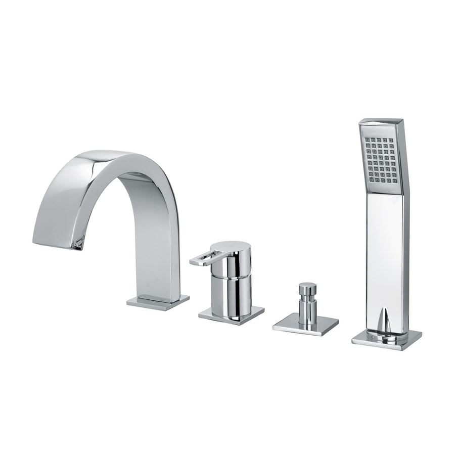 WS Bath Collections Fonte Polished Chrome 1-Handle Bathtub and Shower Faucet Trim Kit with Handheld Showerhead