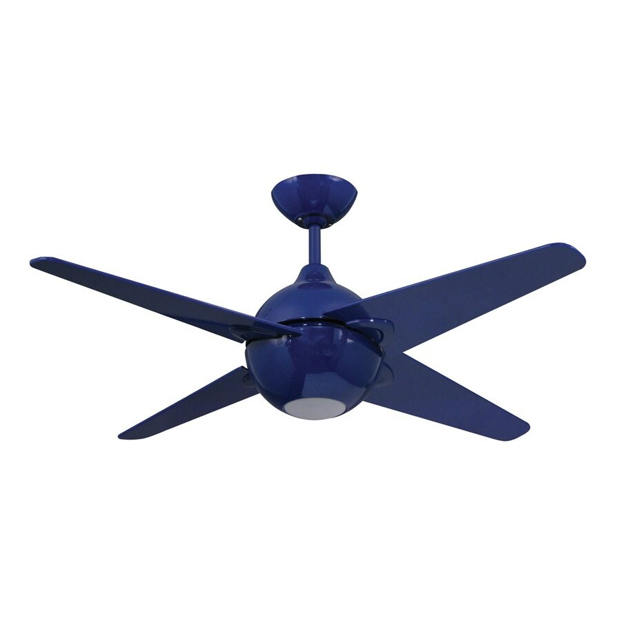 Yosemite Home Decor Spectrum 42-in Cobalt Blue Indoor Downrod Mount Ceiling Fan with Light Kit and Remote
