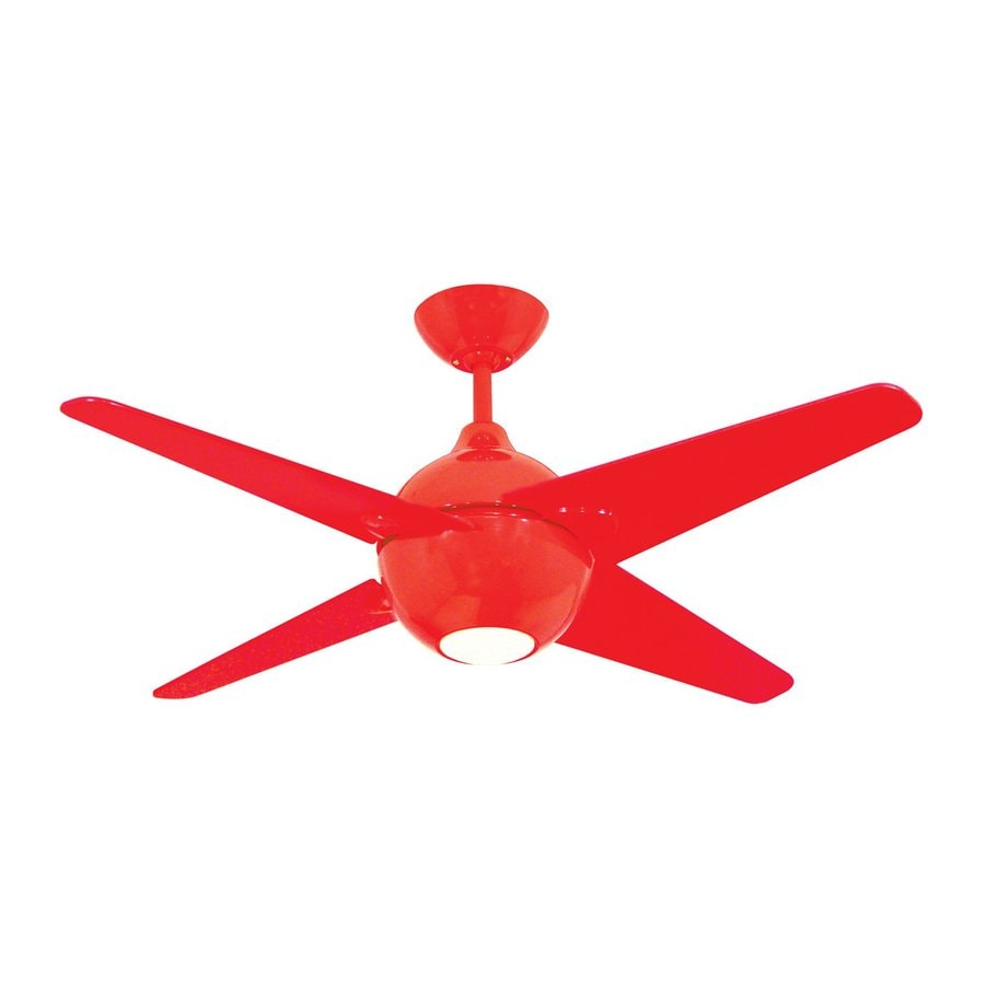 Yosemite Home Decor Spectrum 42-in Red Downrod Mount Ceiling Fan with Light Kit and Remote
