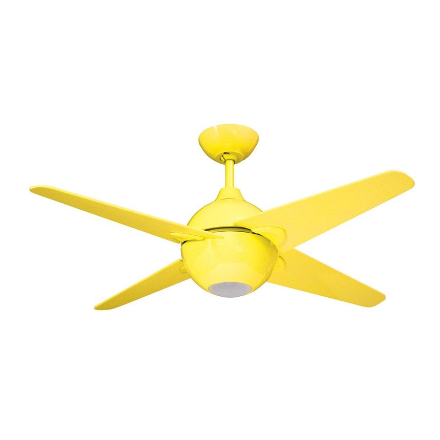 Yosemite Home Decor Spectrum 42-in Yellow Indoor Downrod Mount Ceiling Fan with Light Kit and Remote