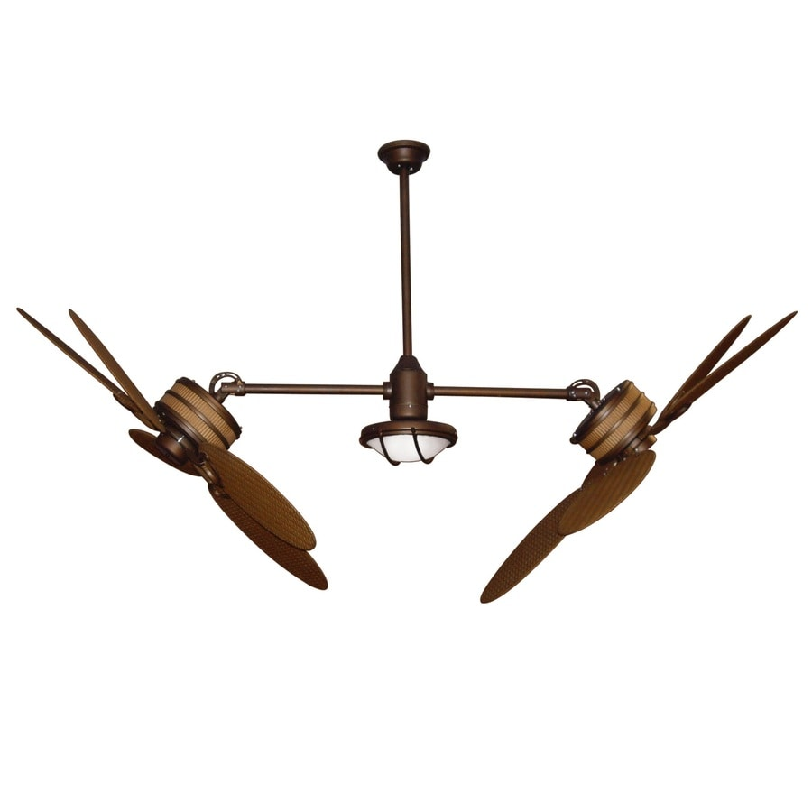 Yosemite Home Decor Twin Peaks 47-in Oil-Rubbed Bronze Outdoor Downrod Mount Ceiling Fan with Light Kit and Remote