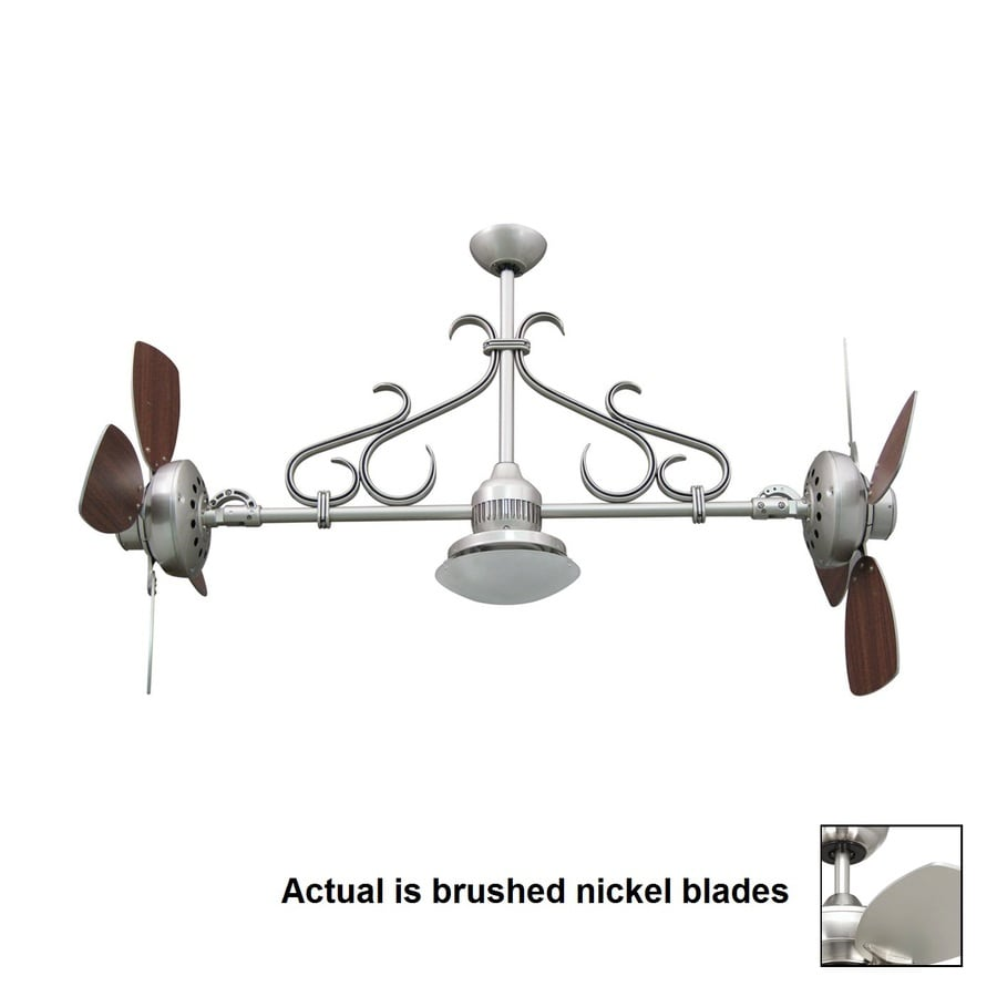 Yosemite Home Decor Typhoon 26-in Brushed Nickel Indoor Downrod Mount Ceiling Fan with Light Kit and Remote
