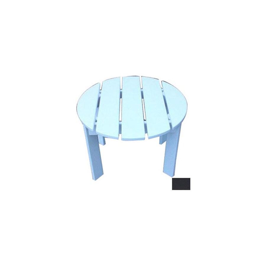 Prairie Leisure Design 22-in x 22-in Black Wood Round Patio Side Table