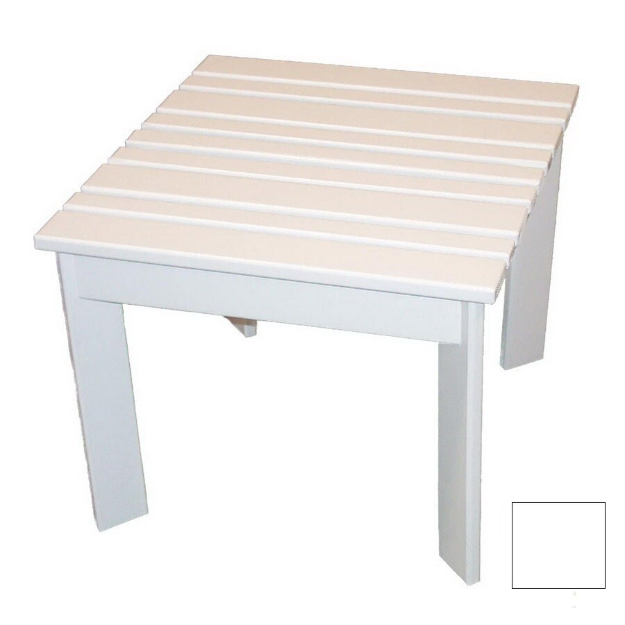 Prairie Leisure Design 16-in x 16-in Satin White Wood Square Patio Side Table