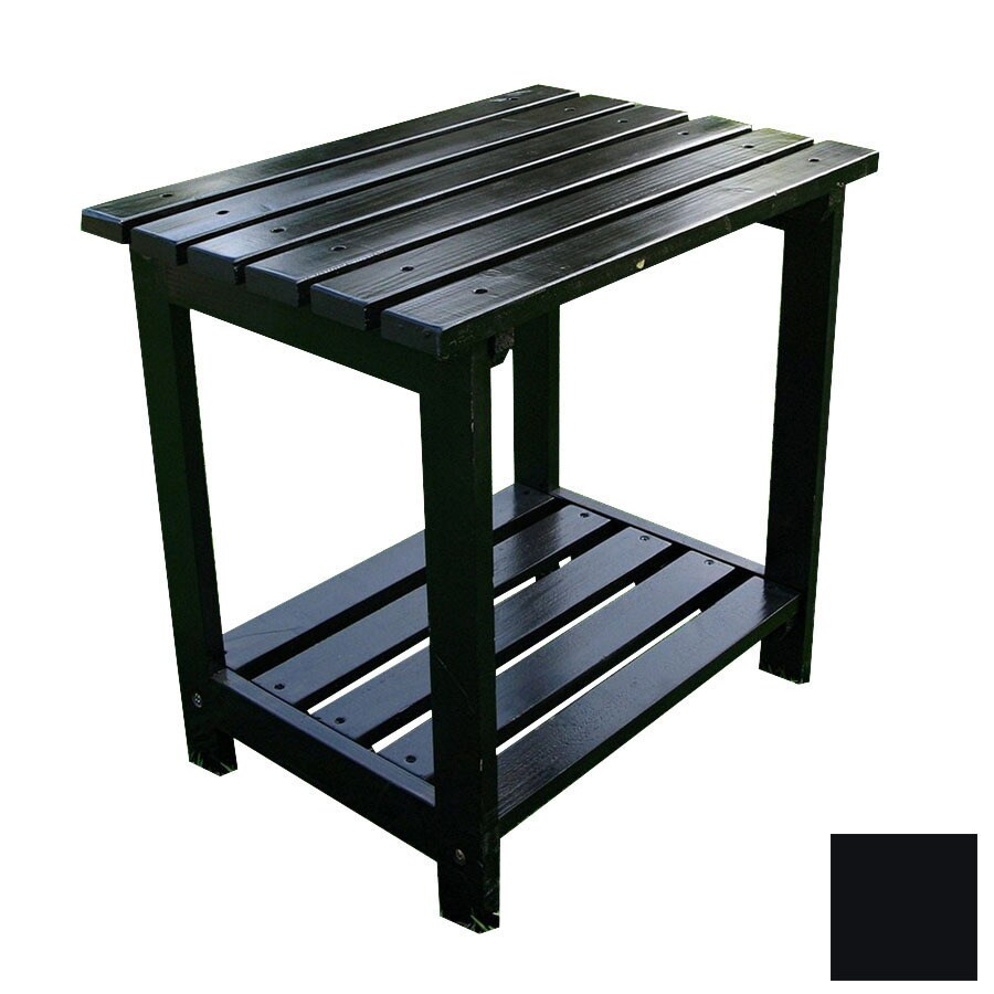 Shine Company 19.75-in x 14-in Black Cedar Rectangle Patio Side Table