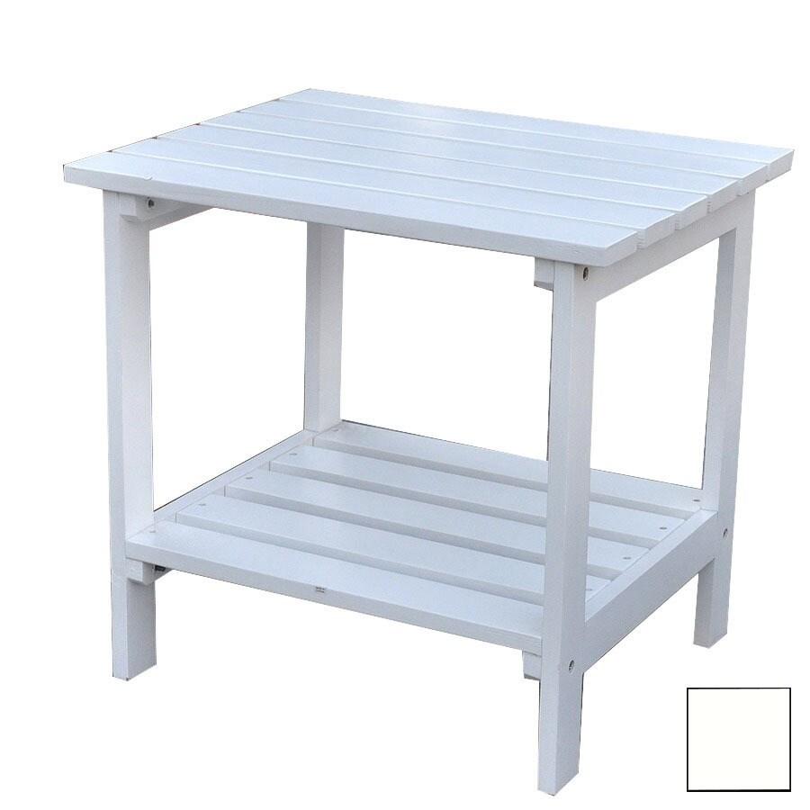Shine Company 23.75-in x 16-in White Cedar Rectangle Patio Side Table