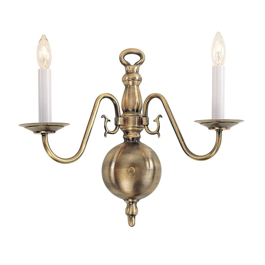 Livex Lighting Williamsburg 15-in W 2-Light Antique Brass Arm Hardwired Wall Sconce