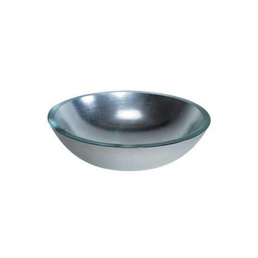 WS Bath Collections Linea Silver Leaf Glass Vessel Round Bathroom Sink