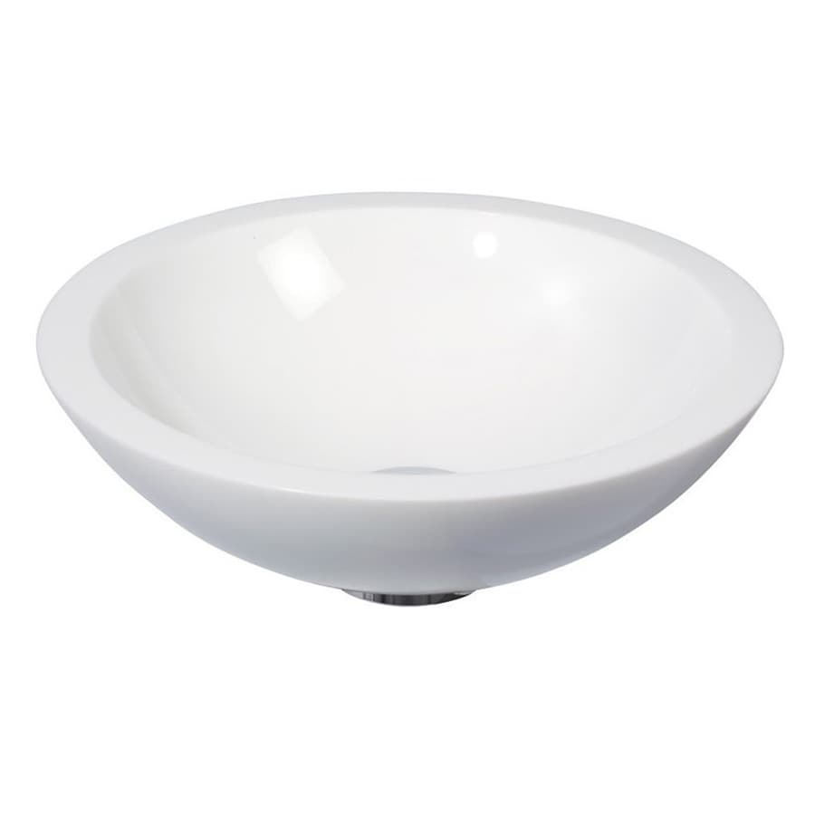 WS Bath Collections Linea Ming White Glass Vessel Round Bathroom Sink